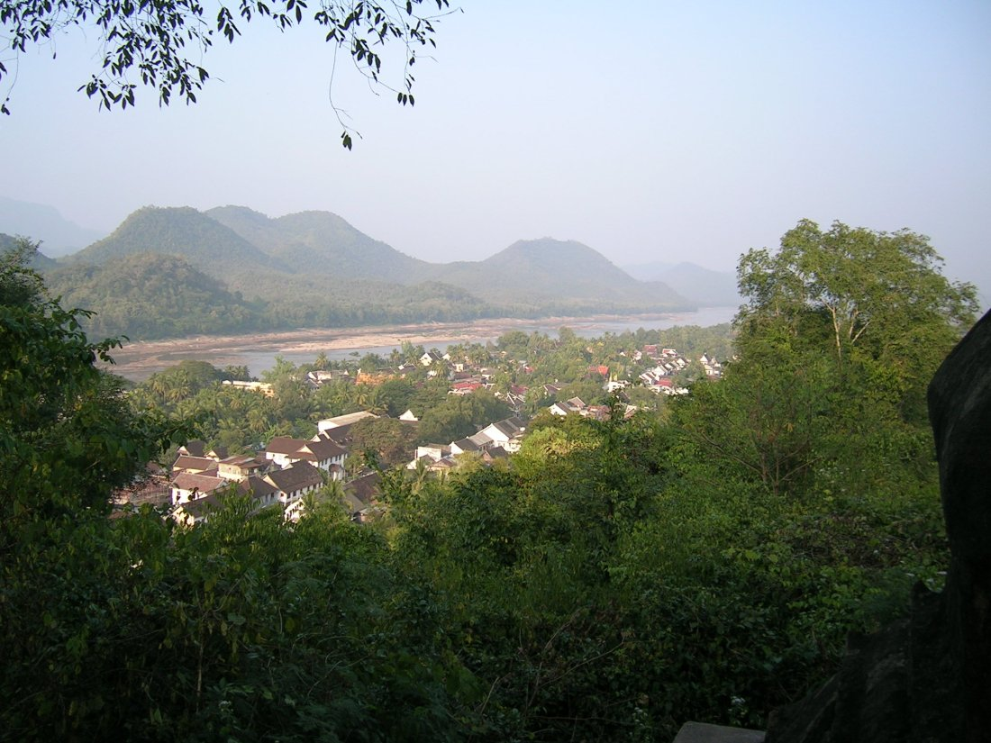 view of Luang Prabang from the nearby hills