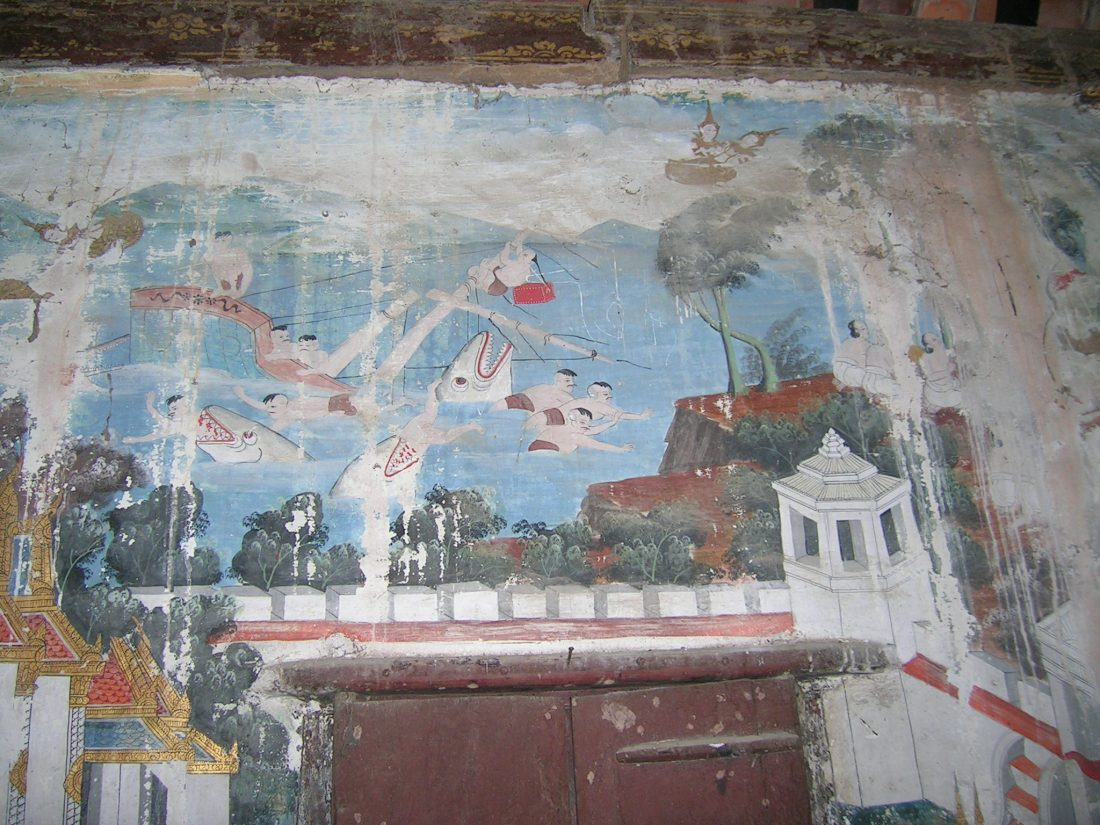 Mural in an old temple, oddly enough featuring sharks consuming human beings