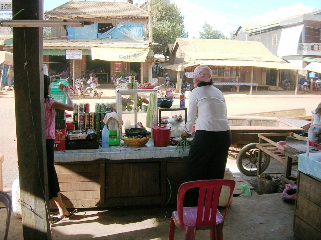 Meals in a dusty town in Eastern Cambodia