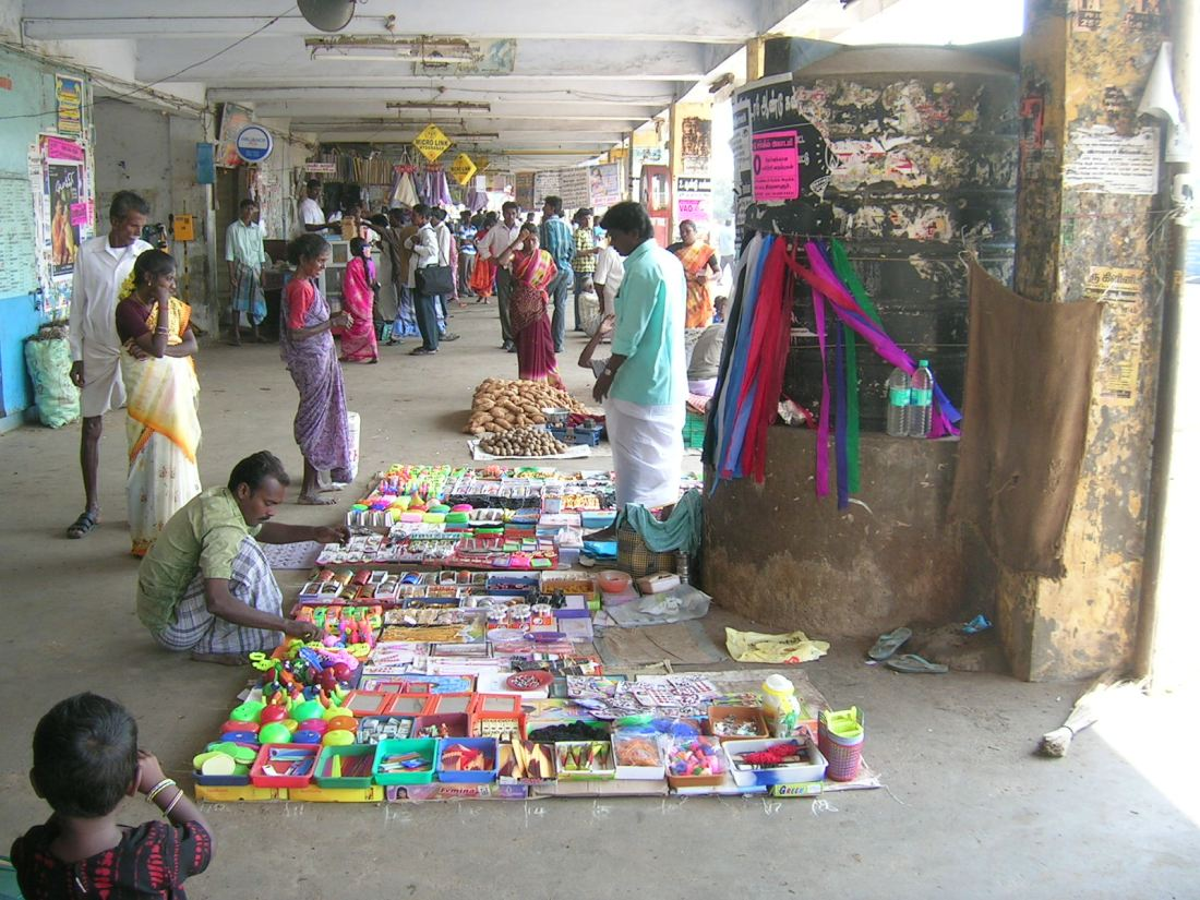 An eclectic range of goods for the poor.....a shop on the pavement, India