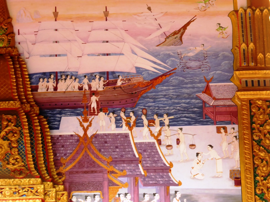 Scene from a temple mural - ocean and ships and we are nowhere near the sea